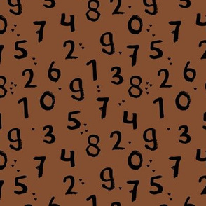 Back to school kids numbers mathematics numbers abc copper rust brown black