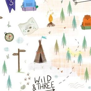 Woodland Third Birthday Three Print