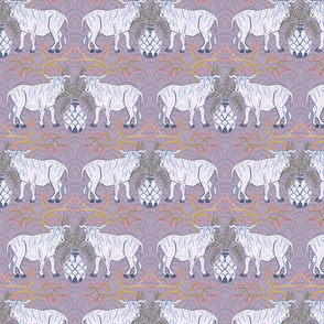 Chinoiserie oxen in lavender (medium)