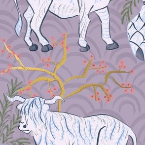 Chinoiserie oxen in lavender (large)
