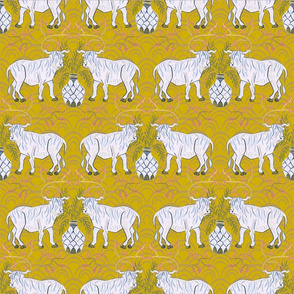 Chinoiserie oxen in gold (medium)