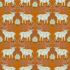 Chinoiserie Oxen in orange (medium)