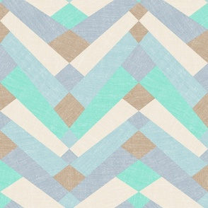Modern patchwork herringbone - seaside colors
