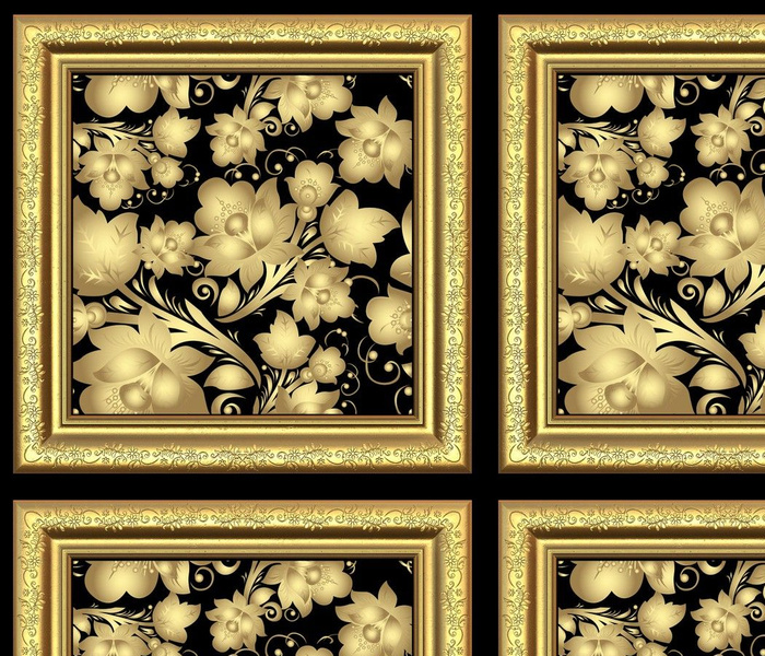 Gold frame with gold flowers