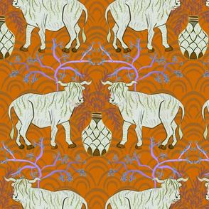 Chinoiserie oxen in orange