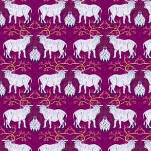 Chinoiserie oxen in magenta (medium)