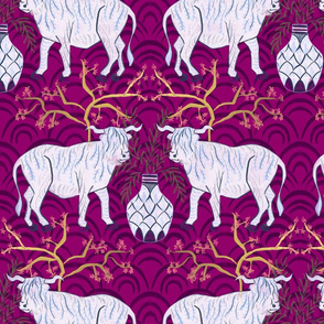 Chinoiserie oxen in magenta (large)