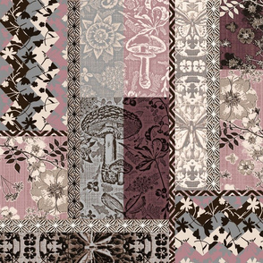 Patchwork Cottagecore Blush and gray