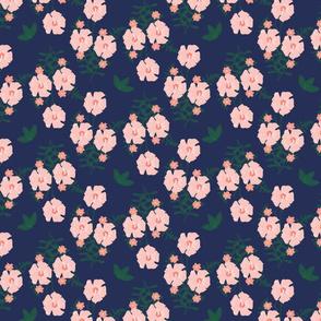 Pink On Blue Floral