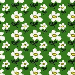 hand drawn daisy green background