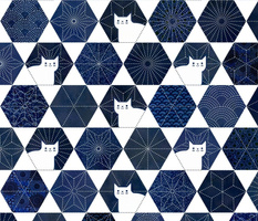 Sashiko Cats White and Blue Large-Japanese Patchwork- Geometric Embroidery Cat-Navy- Indigo- Blue- Home decor