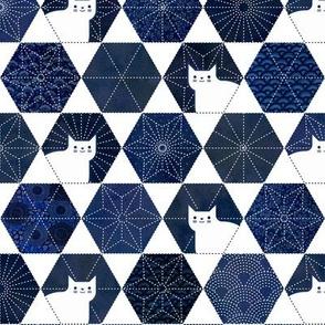 Sashiko Cats White and Blue Small-Japanese Patchwork- Geometric Embroidery Cat-Navy- Indigo- Blue