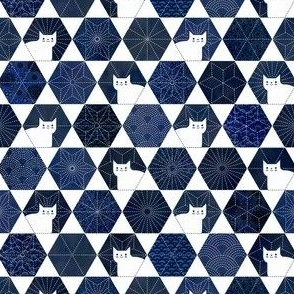 Sashiko Cats White and Blue Mini-Japanese Patchwork- Geometric Embroidery Cat-Navy- Indigo- Blue- Face Mask- Small Scale