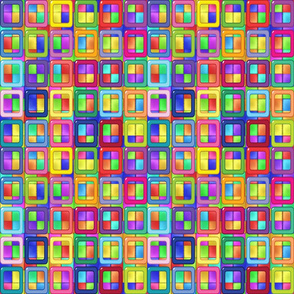 Patchwork Rainbow Neon Blocks on Blocks