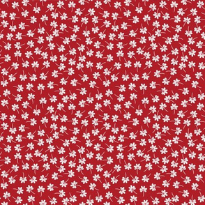 tiny flowers on red
