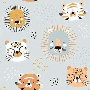 Cute animals on gray background