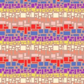 small scale geometric colourful rainbow boho boxes