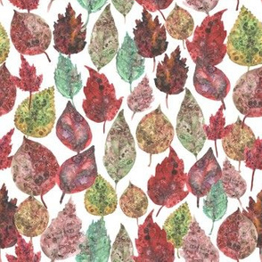 Watercolor collection of autumn leaves green brown burgundy