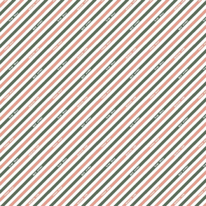 Postal Diagonal Stripe - Green / Pink