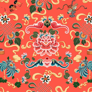 """Chinoiserie """"Joie de Chinois"""" on Red Coral"""