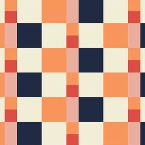 Modern Patchwork Co-ord Tangerine Navy Check