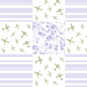 airplanes patchwork watercolor planes_ stripes_ stains for modern nursery baby boy