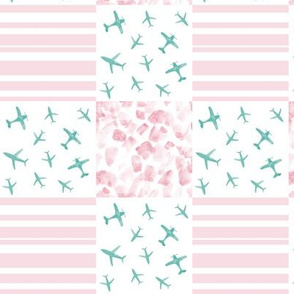 Blush and emerald airplanes patchwork watercolor planes_ stripes_ stains for modern nursery baby boy - 4