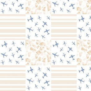 blue and mustard airplanes patchwork watercolor planes_ stripes_ stains for modern nursery baby boy - 5