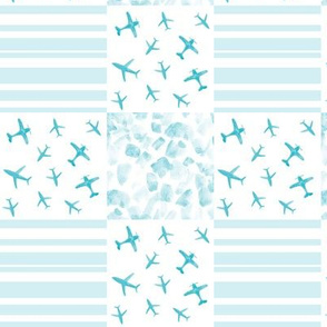 Soft aqua airplanes patchwork watercolor planes_ stripes_ stains for modern nursery baby boy - 7