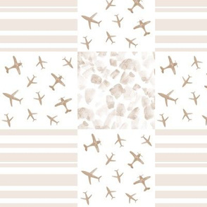 neutral airplanes patchwork - earthy watercolor planes_ stripes_ stains for modern nursery baby boy - 9