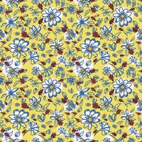 handdrawn daisies and ladybugs yellow