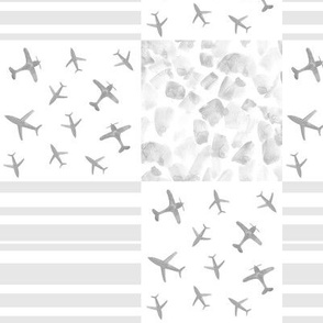 Platinum airplanes patchwork watercolor grey planes_ stripes_ stains for modern nursery baby boy - 10