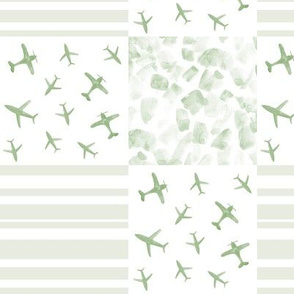 khaki airplanes patchwork watercolor planes_ stripes_ stains for modern nursery baby boy - 11