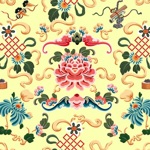 """Chinoiserie """"Joie de Chinois"""" on Yellow"""