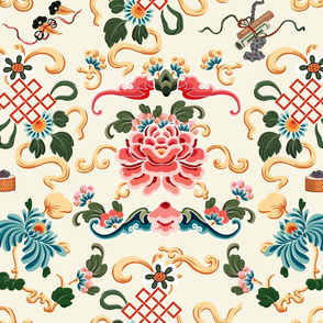 """Chinoiserie """"Joie de Chinois"""" on Off White"""