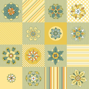 Sunny Flowers Cheater Quilt mellow