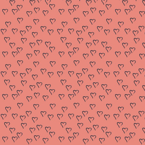 Charcoal Hearts on Coral