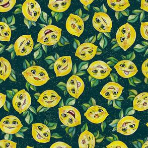 Sour Face Lemons on Green by ArtfulFreddy