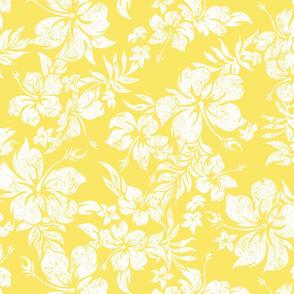 Distressed Hawaiian Hibiscus Floral- Illuminating Yellow