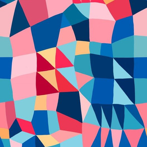 Blue and pink patchwork