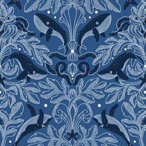 Nautical damask pattern with whales, small scale