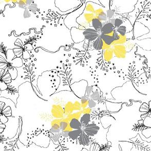 Hawaiian GardenFloral -  Ultimate Gray and Illuminating Yellow