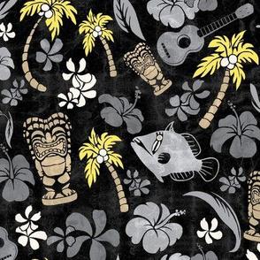 Hawaiian Tiki Beach Tropical Micro Print -  Ultimate Gray and Illuminating Yellow