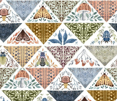 Painted patchwork- white