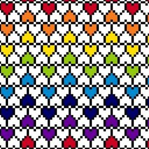 Small Pixel Hearts Rainbow