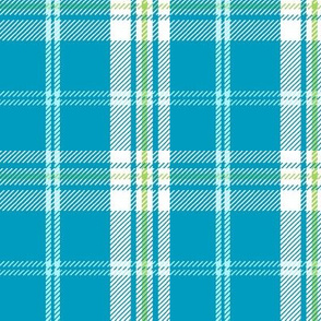Aloha Patchwork Plaid- Teal and Lime Green