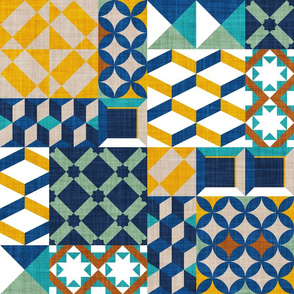 Geometric tiles inspiration patchwork // normal scale // goldenrod yellow greige copper brown jade green peacock classic and midnight blue