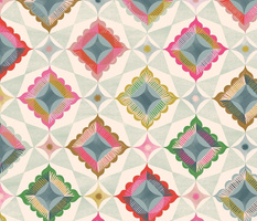 large scale star and diamond Patchwork / light multi