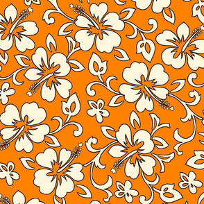 Hibiscus Flower Hawaiian Print in Tangerine
