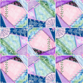 Sunprint Crazy Quilt in Pink Blue Green